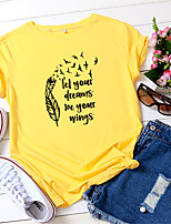 cheap -Women's T shirt Letter Print Round Neck Tops 100% Cotton Basic Basic Top White Blue Red