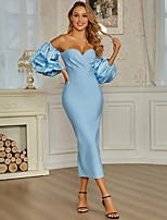 cheap -Sheath / Column Sexy bodycon Homecoming Cocktail Party Dress Sweetheart Neckline 3/4 Length Sleeve Tea Length Spandex with Split 2021