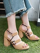 cheap -Women's Sandals Chunky Heel Peep Toe PU Synthetics Almond Black Pink