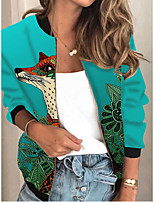 cheap -Women's Animal Patterned Print Active Spring &  Fall Jacket Regular Daily Long Sleeve Air Layer Fabric Coat Tops Blue