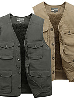 cheap -Men's Fishing Vest Hiking Fleece Vest Sleeveless Vest / Gilet Jacket Top Outdoor Thermal Warm Fleece Lining Quick Dry Lightweight Autumn / Fall Winter Cotton Solid Color Army Green Khaki Hunting