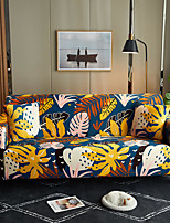 cheap -Yellow Floral Leaves Print Dustproof All-powerful Slipcovers Stretch Sofa Cover Super Soft Fabric Couch Cover with One Free Pillow Case