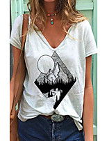 cheap -Women's T shirt Scenery Print V Neck Tops Basic Basic Top White