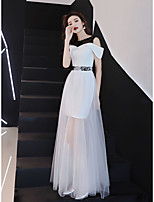 cheap -A-Line Color Block Maxi Holiday Wedding Guest Dress Jewel Neck Short Sleeve Floor Length Lace Tulle Stretch Fabric with Lace Insert 2021