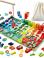 cheap -Wooden Number Puzzle Montessori Toys 5 in 1 Math Learning Toys for Toddlers 3,4,5,6 Years Old Kids, Montessori Counting Toy, Preschool Educational Learning Toys, Shape Sorter Counting Game, Stacking Blocks, Fishing Game