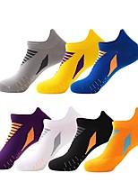 cheap -Men's Hiking Socks 1 Pair Outdoor Quick Dry Soft Stretchy Comfortable Socks Patchwork Nylon Chinlon White Black Purple for Hunting Fishing Climbing