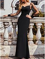 cheap -Women's Trumpet / Mermaid Dress Maxi long Dress Black Long Sleeve Solid Color Fall Spring Vintage Sexy 2021 S M L XL XXL 3XL 4XL