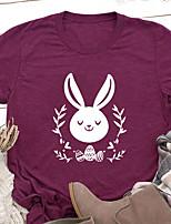 cheap -Women's T shirt Plants Animal Print Round Neck Tops Basic Basic Top Black Blue Red