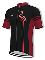 cheap -21Grams Men's Short Sleeve Cycling Jersey Spandex Black Flamingo Bike Top Mountain Bike MTB Road Bike Cycling Breathable Quick Dry Sports Clothing Apparel / Athleisure