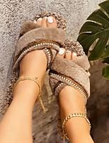 cheap -Women's Sandals Flat Heel Round Toe PU Color Block Dark Brown White Black