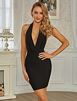 cheap -Sheath / Column Beautiful Back Sexy Party Wear Cocktail Party Dress Halter Neck Sleeveless Short / Mini Spandex with Pearls 2021