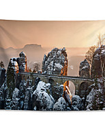cheap -Wall Tapestry Art Decor Blanket Curtain Hanging Home Bedroom Living Room Grand Polyester Roman Bastion Bridge in Germany-Winter Snow Scene
