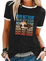 cheap -Women's T shirt Letter Animal Patchwork Print Round Neck Tops Basic Basic Top White Black Blue