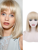 cheap -Natural Straight Short White Gold Wig Chemical Fiber Wig White Gold Qi Liuhai Fashion Short Hair Straight Hair Wig Headgear Trend Wig