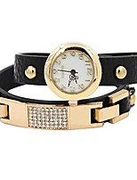 cheap -Women's Fashion Rhinestone Weave Wrap Leather Bracelet Wrist Watch (Black)