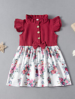 cheap -Kids Little Girls' Dress Floral Print Red Short Sleeve Active Dresses Summer Regular Fit 2-6 Years