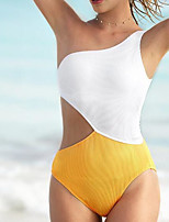 cheap -Women's One Piece Monokini Swimsuit High Waist Push Up Open Back Solid Color Color Block Blue Yellow Swimwear Padded Off Shoulder Bathing Suits New Fashion Modern / Cross
