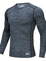 cheap -Men's T shirt Hiking Tee shirt Long Sleeve Tee Tshirt Top Outdoor Quick Dry Lightweight Breathable Stretchy Autumn / Fall Spring Summer Spandex Polyester Black Grey Fishing Climbing Camping / Hiking