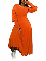 cheap -nhicdns maxi dresses for women plus size long sleeve loose pullover elastic casual fall dress orange xx-large