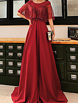 cheap -A-Line Glittering Luxurious Engagement Formal Evening Dress Illusion Neck Half Sleeve Sweep / Brush Train Satin with Pleats Sequin 2021