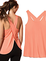 cheap -Women's Tank Top Tee / T-shirt High Split Crossover Crew Neck Solid Color Sport Athleisure Top Sleeveless Breathable Soft Comfortable Yoga Running Everyday Use Casual Daily Outdoor