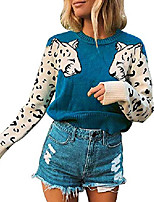 cheap -women's leopard print sweaters crew neck long sleeve soft knit pullover tops