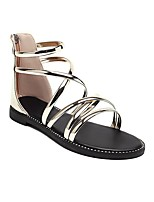 cheap -Women's Sandals Boho Bohemia Beach Roman Shoes Gladiator Sandals Chunky Heel Round Toe PU Synthetics Champagne Gold Silver
