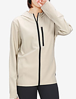 cheap -Women's Solid Colored Sporty Spring & Summer Hoodied Jacket Regular Sport Polyester Coat Tops Khaki