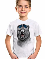 cheap -Kids Boys' T shirt Short Sleeve Animal Daily Wear Print Children Summer Tops Active Regular Fit White 4-12 Years