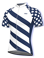 cheap -21Grams Men's Short Sleeve Cycling Jersey Spandex White Polka Dot Stripes Bike Top Mountain Bike MTB Road Bike Cycling Breathable Quick Dry Sports Clothing Apparel / Athleisure
