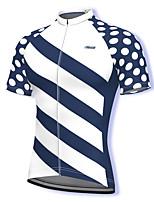 cheap -21Grams Men's Short Sleeve Cycling Jersey Spandex White Polka Dot Stripes Bike Top Mountain Bike MTB Road Bike Cycling Breathable Quick Dry Sports Clothing Apparel / Athleisure