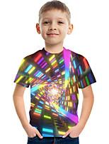 cheap -Kids Boys' Tee Short Sleeve Graphic Geometric Children Tops Active Rainbow
