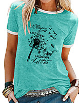 cheap -Women's T shirt Dandelion Letter Patchwork Print Round Neck Tops Basic Basic Top White Blue Purple