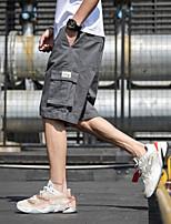 "cheap -Men's Hiking Cargo Pants Solid Color Summer Outdoor 12"" Ventilation Multi-Pockets Breathable Cotton Shorts Bottoms Black Army Green Grey Khaki Beach Traveling M L XL XXL XXXL"