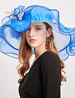 cheap -Vintage Style Elegant Organza / Polyester / Polyamide Hats / Headwear / Straw Hats with Appliques / Flower / Split Joint 1 Piece Casual / Holiday Headpiece