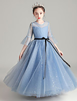 cheap -Princess / Ball Gown Jewel Neck Floor Length Tulle Junior Bridesmaid Dress with Bow(s) / Pleats