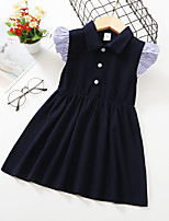 cheap -Kids Toddler Little Girls' Dress Solid Colored Print Black Knee-length Short Sleeve Active Dresses Summer Regular Fit 2-8 Years