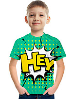 cheap -Kids Boys' Tee Short Sleeve Graphic Children Summer Tops Active Green 3-12 Years