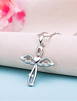 cheap -Women's Pendant Necklace Charm Necklace Classic Cross Precious Fashion Classic Zircon Copper Silver Plated Silver 45 cm Necklace Jewelry 1pc For Christmas Halloween Party Evening Street Gift