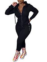 cheap -womens casual 2 piece jumpsuit full zipper hoodie jacket tight pants plus size sets sweatsuits jogger black xxl