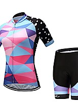 cheap -women cycling jersey set bike team cycling clothes short sleeve full zipper gel breathable pad quick dry bike clothing (ds009w, s)