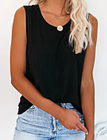 cheap -Women's Tank Top Tee / T-shirt Pure Color Crew Neck Cotton Solid Color Sport Athleisure Top Sleeveless Breathable Soft Comfortable Everyday Use Street Casual Daily Outdoor