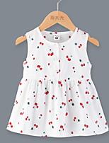 cheap -Kids Little Girls' Dress Cherry Fruit Print White Green Navy Blue Knee-length Sleeveless Sweet Dresses Summer Regular Fit 3-8 Years
