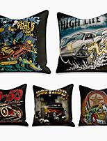 cheap -5 pcs Linen Pillow Cover, Cartoon Square Zipper Polyester Traditional Classic