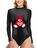 cheap -Women's New Vacation Cute One Piece Swimsuit Color Block Animal Tummy Control Print Bodysuit Normal High Neck Swimwear Bathing Suits Black / Party