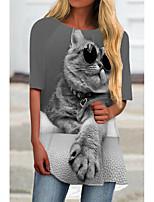 cheap -Women's T Shirt Dress Tee Dress Short Mini Dress Black Khaki Gray Half Sleeve Cat Animal Print Spring Summer Round Neck Casual 2021 S M L XL XXL 3XL