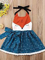 cheap -Kids Little Girls' Dress Graphic Bow Print Blue Knee-length Long Sleeve Active Dresses Summer Regular Fit 2-6 Years