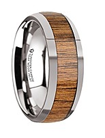 cheap -thorsten thekka domed style tungsten carbide wedding ring with teak wood wood inlay and polished beveled edges comfort fit durable wooden wedding band rings - 8mm