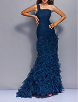 cheap -Mermaid / Trumpet Beautiful Back Sexy Engagement Formal Evening Dress One Shoulder Sleeveless Sweep / Brush Train Tulle with Tier 2021