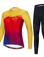 cheap -Women's Long Sleeve Cycling Jersey with Tights Red / Yellow Red+Blue Bike Windproof Sports Patterned Clothing Apparel / Micro-elastic / Athleisure